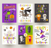 Set of Halloween posters or greeting card Royalty Free Stock Image