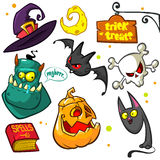 Set of Halloween pumpkin and attributes Stock Image