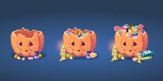 Set of Halloween pumpkin basket Stock Image