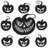 Set for Halloween with pumpkin carving. Happy Halloween vector lettering. Set for Halloween with pumpkin carving. Happy Halloween card with pumpkins. Vector stock illustration