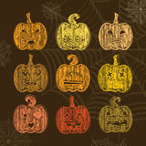 Set of Halloween pumpkin with different expressions. Chalk textu Royalty Free Stock Photo