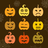 Set of Halloween pumpkin with different expressions Royalty Free Stock Photography