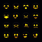 Set of halloween pumpkin face Royalty Free Stock Images