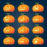 Set of halloween pumpkin faces Stock Photos