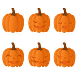 Set of halloween pumpkins. With different face expressions Stock Photo