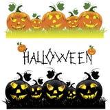 Set of Halloween pumpkins Stock Photography