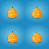 Set of halloween pumpkins. On blue background Stock Images