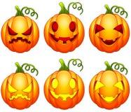Set of Halloween pumpkins cartoon Stock Photos