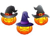 Set of Halloween pumpkins cartoon Stock Photo