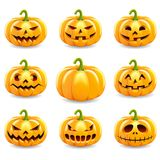 Set of halloween pumpkins collection. Set of halloween pumpkins collection isolated on white background. Vector illustration Stock Images
