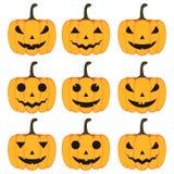 Set of Halloween pumpkins Stock Image