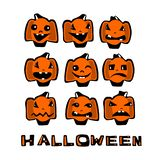 Set of Halloween pumpkins. With different emotions in a cartoonish, comic style royalty free illustration