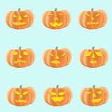 Set of halloween pumpkins with different faces Stock Photos
