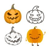 Set of Halloween pumpkins in different style. Stock Photos