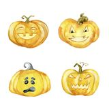 Set of Halloween pumpkins. Hand drawn watercolor illustration vector illustration