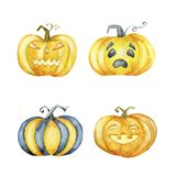 Set of Halloween pumpkins. Hand drawn watercolor illustration royalty free illustration