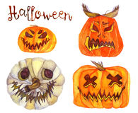 Set of Halloween pumpkins. Hand Painted Watercolor Illustration Isolated: Set of Halloween pumpkins Stock Images