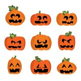 Halloween pumpkins. Set of Halloween pumpkins - illustration Stock Photo