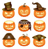 Set of Halloween pumpkins Jack O'Lantern Stock Image