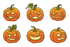 Set of halloween pumpkins. Vector colored illustration.Can used for stickers, printing on clothes, banners, posters, web design royalty free illustration