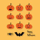 Set of Halloween pumpkins, spider, bat, web Royalty Free Stock Photos