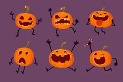 Set of Halloween pumpkins with various expressions Royalty Free Stock Image