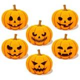 Set of Halloween pumpkins Stock Photos