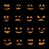 Set of 16 halloween pumpkins Royalty Free Stock Photos