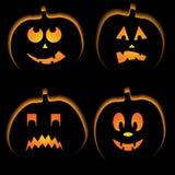 Set of 4 halloween pumpkins Stock Photography