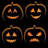 Set of 4 halloween pumpkins Stock Images