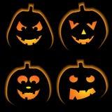 Set of 4 halloween pumpkins Royalty Free Stock Photos