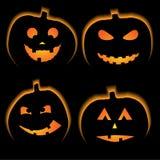 Set of 4 halloween pumpkins Stock Photos