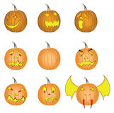 Set of Halloween pumpkins vectors. This is a illustration drawing representing 8 different Halloween pumpkins with faces and one simple pumpkin Royalty Free Stock Image