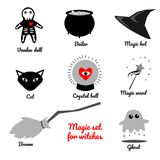 Set of Halloween related objects and creatures. Set of halloween icons for your design. Flat design. Halloween symbols. Stock Photo