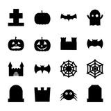 Set of halloween related spooky and cute decoration icons for design. vector illustration