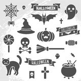 Set of Halloween ribbons and characters Royalty Free Stock Image