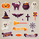 Set of Halloween Ribbons and Characters Stickers. Scrapbook elements. Vector illustration. Textured background. Witch Hat, Sweet Candy, Spider and Web, Skull Royalty Free Stock Images