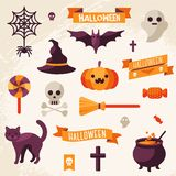 Set of Halloween ribbons and characters. Royalty Free Stock Photography