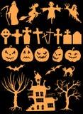 Set Halloween-Schattenbilder Lizenzfreie Stockfotografie