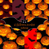 Set of Halloween seamless backgrounds. stock illustration