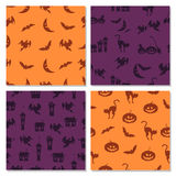 Set of Halloween seamless pattern in orange and purple. Colors. Collection of holiday vector backgrounds Stock Photo