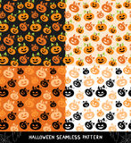 Set of Halloween seamless patterns. Halloween seamless background with pumpkins. Cute Halloween textures. Vector illustration Royalty Free Stock Photos
