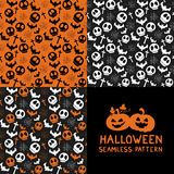 Set of Halloween seamless patterns. Halloween seamless background with spider webs, bats, skull, cross. Cute Halloween textures. Vector illustration Royalty Free Stock Photography