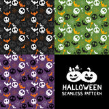 Set of Halloween seamless patterns. Halloween seamless background with spider webs, bats, skull, cross. Cute Halloween textures. Vector illustration Stock Image