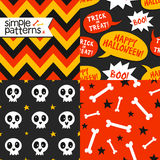 Set of 4 Halloween seamless patterns. Bright collection of 4 Halloween seamless patterns Royalty Free Stock Photos