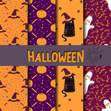 Set of Halloween seamless patterns. Collection of holidays vector backgrounds Royalty Free Stock Images