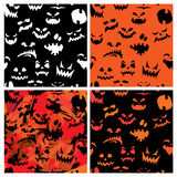 Set of Halloween seamless patterns with pumpkins f Royalty Free Stock Photo