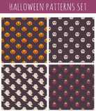 Set of halloween seamless patterns. Set of halloween seamless patterns with pumpkins, skulls and ghosts Stock Images