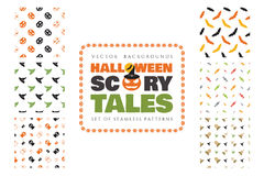 Set of 6 halloween seamless patterns. Scary tales. Stock Photography
