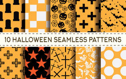 Set of 10 halloween seamless patterns. Vector illustration Stock Photography